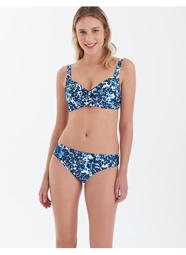 Marks & Spencer Leopar Desenli Katlamalı Bikini Altı Mavi